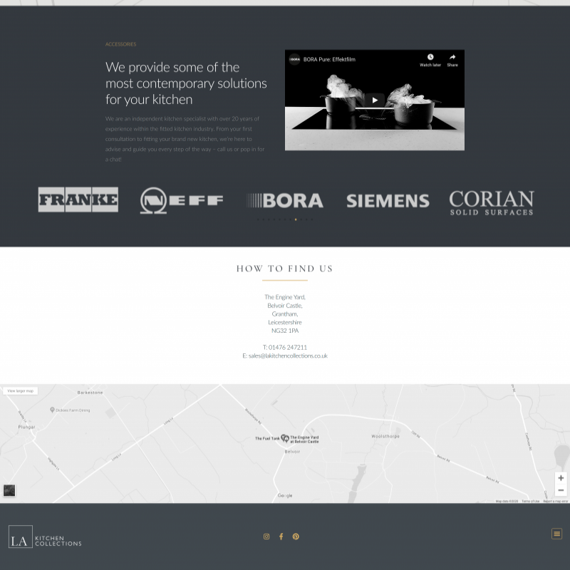 Website design of LA kitchens website